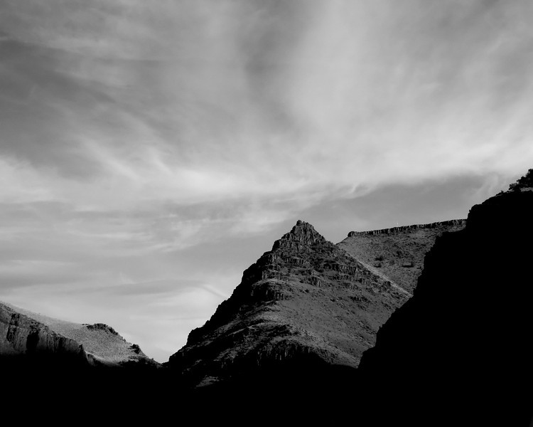 At the entrance to Picture Canyon out near Dayville, Oregon as the sun was setting. The BW emphasizes the pyramidical shape of the slope.