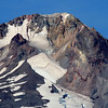 Close up of the peak of Mt Hood..<br /> Showing volcanic rock and glaciers
