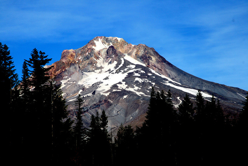 Mt Hood's peak in mid October..<br /> only the glaciers left.
