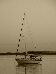 Sail Boat Sepia
