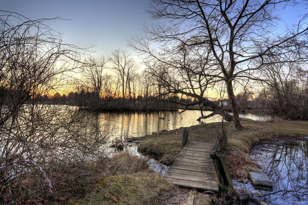 LIttle bridge at the Duckpond at sunset