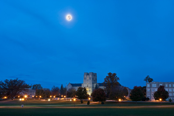 The Drill Field at Virginia Tech under the early morning setting moon.