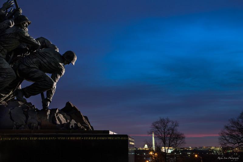 Iwo Jima just as the sun is rising.