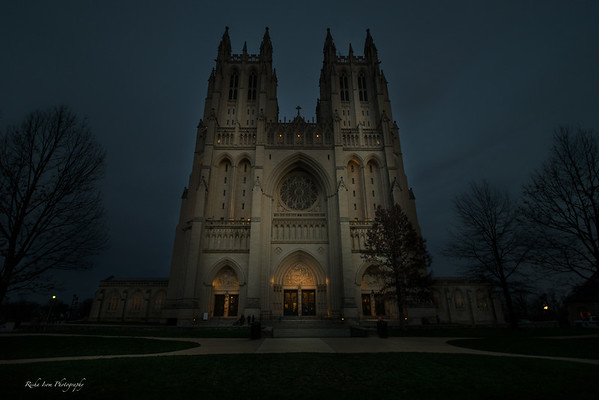 National Cathedral at twilight.