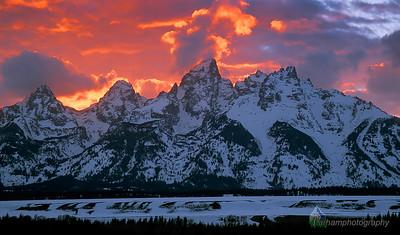Winter Teton Sunset  (F031)