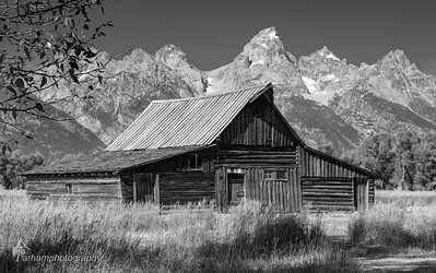 Barn and Tetons - black and white  (GT-09159 BW)