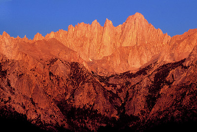 (J041)  Sunrise alpenglow on Mount Whitney