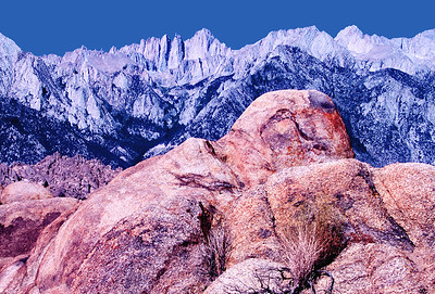(J052)  Mt. Whitney and the Eastern Sierras viewed from the Alabama Hills, California