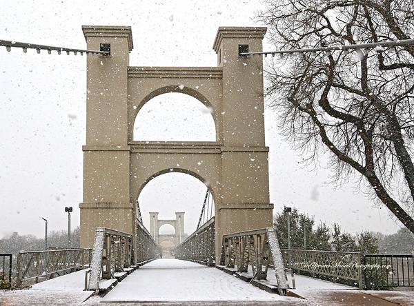 Waco Suspension Bridge in The Snow