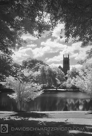 """""""Amasa Stone Chapel #2"""" Amasa Stone was an American industrialist who built railroads. He was a major benefactor of Western Reserve College which is now Case Western Reserve University. Scene from Wade Lagoon, University Circle Cleveland Ohio"""