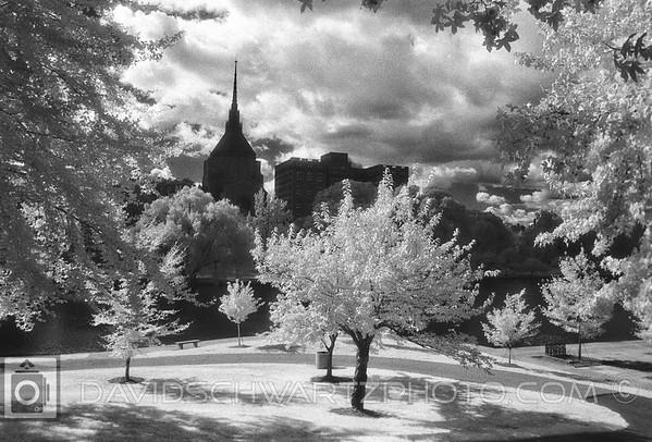 """Euclid Epworth Church"" Designed by Bertram Grosvenor Goodhue. On Wade Lagoon, University Circle Cleveland Ohio"