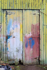 Technicolour boatyard door, Canaerfon, Wales