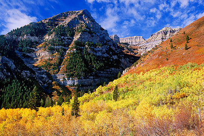 Autumn on Mount Timpanogos, from the same tripod spot as in the previous image. Bill's original capture was on film in 2001.