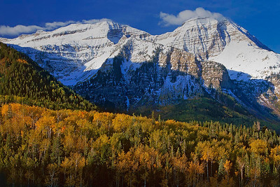 Changing seasons.  An early September snowstorm dusted Mount Timpanogos while aspens were just starting to turn. Bill's original capture was on film in 2001.
