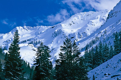 Snow-covered slopes in Big Cottonwood Canyon.  Bill's original capture was on film in 2003.