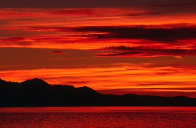 Summer sunset on the Great Salt Lake.  Bill's original capture was on film in 2002.