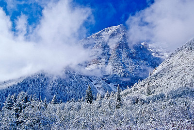 Early September snow dusts Mount Timpanogos.  Bill's original capture was on film in 2001.