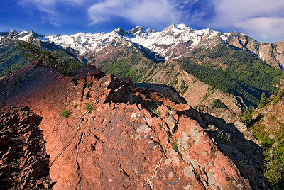 Bill hiked 3 miles to this spot, one of our favorite hiking destinations, early one June morning to get first light on this red rock formation overlooking the expanse of Big Cottonwood Canyon.