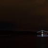 Crecent moon and Lions Gate Bridge, Vancouver.