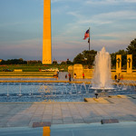 Washington-Monument-National-World-War-II-2-Memorial-Fountains-Flag-Sunset_D8X6335