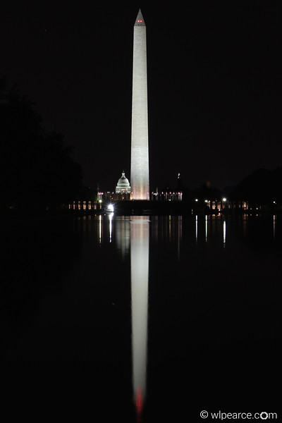 Pre-Dawn Washington Monument, Capitol in background.