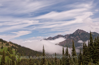 Clouds over alpine slopes, on the Hurricane trail, Olympic National Park.