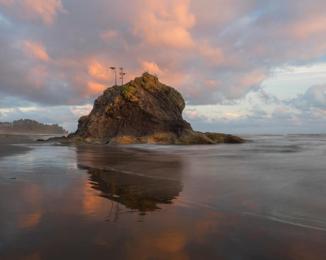 Seastack on Second Beach, sunset