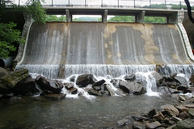 The dam that helps create Lake Susan, at Montreat College in Montreat, NC.
