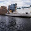A ship docked in Baltimore Inner Harbor.