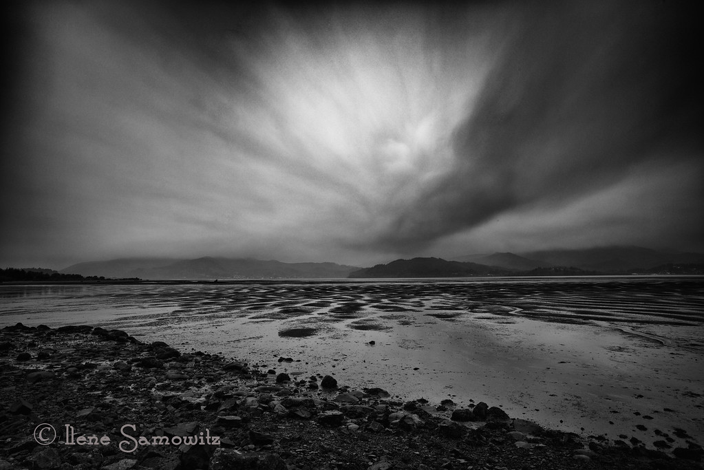 4-6-13 Tillamook Bay -  down on the Oregon Coast on a windy rainy afternoon.  We drove out to Bay Ocean Spit before the rain started pelting.  I did some long exposure work for my class/project until I got drops on my filter.  I used 13 stops of ND and exposed this image for 357 sec ( almost 6 minutes).