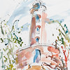 This beautiful water tower has now been converted to a gallery specialising in photography. A surprisingly effective display space, highly recommend. I painted this on one of the hottest days I can remember, well in the 40s, paint drying instantly, icecream dribbling down my arm.