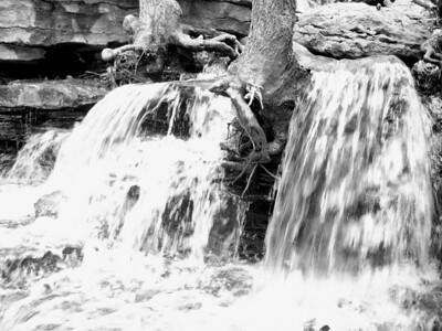 Waterfall at Lake ANN bw