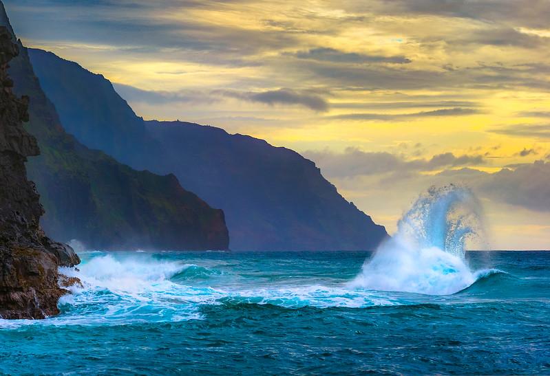 """Tropical Waves in Kauai at Sunset"""