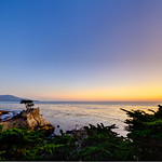 """Lone Cypress at Sunset"" 17-mile Drive near Pebble Beach and Carmel, California with a tiny moon in the sky. I managed to be at the Lone Cypress for a nice sunset and tiny moon! Clear skies and just a nice glow lighting up the Cypress."