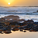 """Northern California Sunset and Waves"" -  Along the Northern California Coastline near Pescadero and Half Moon Bay."