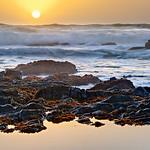 """Northern California Sunset and Waves"" -  Along the Northern California Coastline near Pescadero and Half Moon Bay."