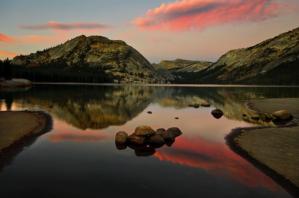 """Sunset at Tenaya Lake"", Yosemite National Park - Tioga Pass.  Just a beautiful sunset at Tenaya Lake.  There were no clouds in the sky all day and right at sunset the winds died down to smooth out the lake and a few wisps of clouds came through delivering some brilliant colors."