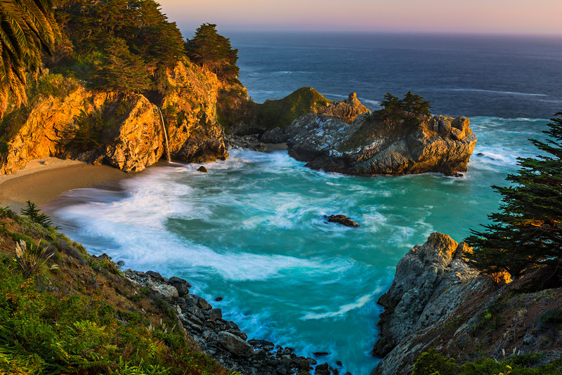 """McWay Falls at Dusk with Palm Tree"" D818884 Big Sur, Northern California"