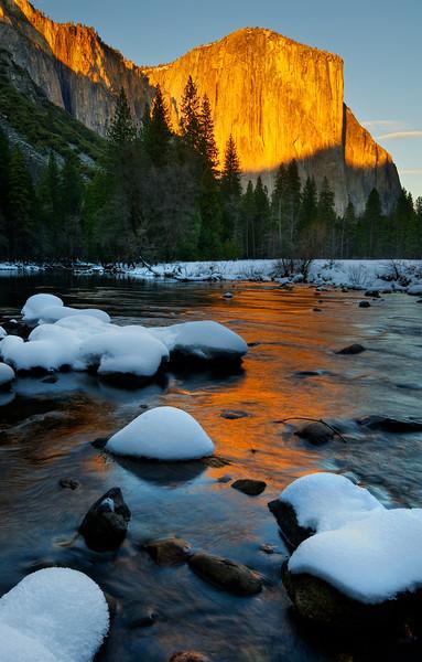 El Capitan and Snow Mounds at Sunset.  Yosemite National Park
