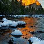 El Capitan and Snow Mounds at Sunset.  Yosemite National Park