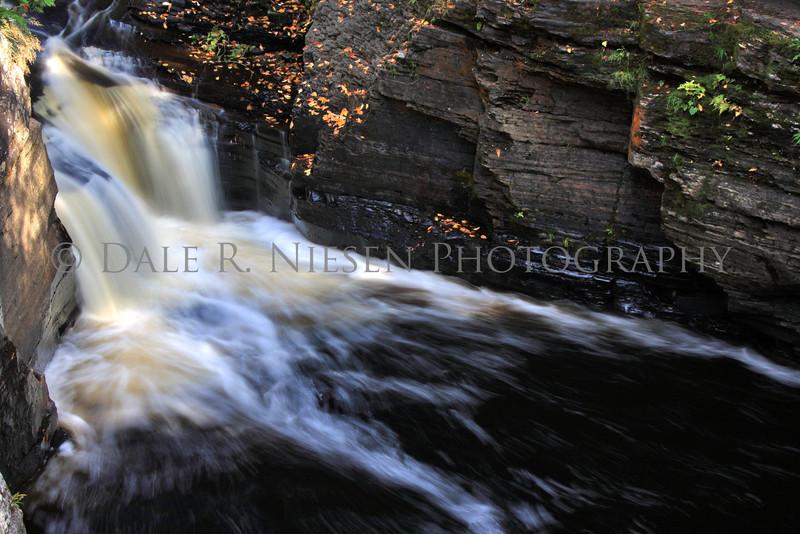A small waterfall along the Sturgeon River Gorge near the Canyon Falls roadside park, Alberta, Michigan.