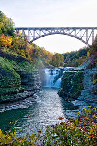 Upper Falls and railroad bridge in Letchworth gorge