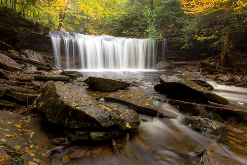 A beautiful waterfall bathed in beautiful light at Ricketts Glen State Park.