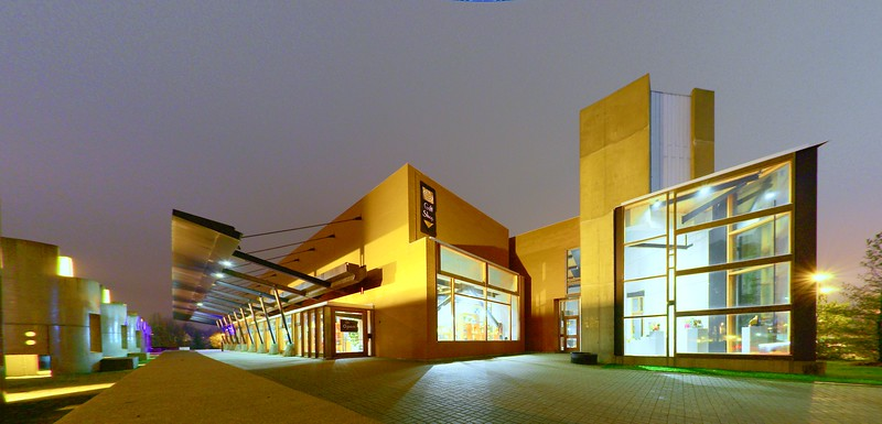 """Canadian Clay and Glass Gallery""<br /> The Canadian Clay and Glass Gallery at night.  Waterloo, Ontario.  Image # AL11"
