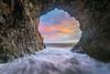 Sunset at high tide, Palos Verdes cave