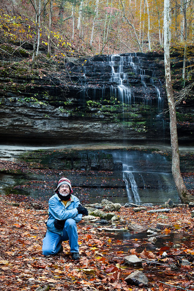 A rare self-portrait at Stillhouse Hollow Falls; the falls are actually much taller than me - the falls are victim of telephoto fore-shortening...