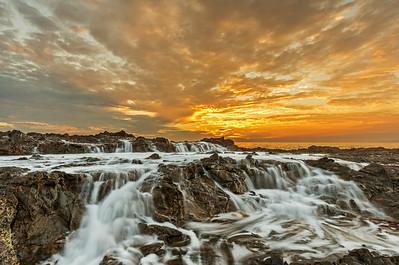 Sunset water flow, Palos Verdes Golden Point