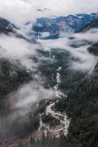 Fog over the Merced river and Bridalveil falls, Yosemite National park
