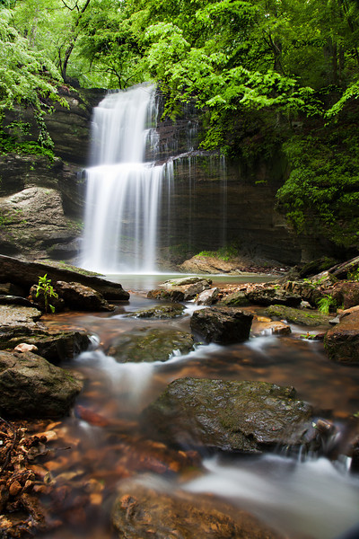 For the first time in 15 years, I visited Rattlesnake Falls, near Mt. Pleasant, TN, and Stillhouse Hollow Falls, this time with a workshop led by photographer Mike Serkownek. The following five frames are different treatments of the same falls...