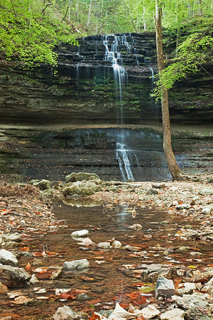 Summer at Stillhouse Hollow falls, taken late in the season in low flow and faded greens.